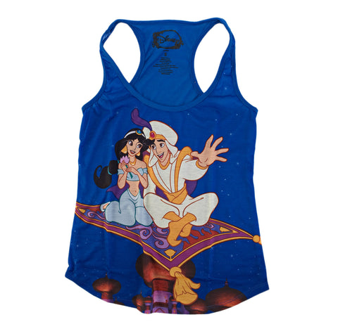 Disney Aladdin Magic Carpet Juniors Blue Tank Top Shirt | S