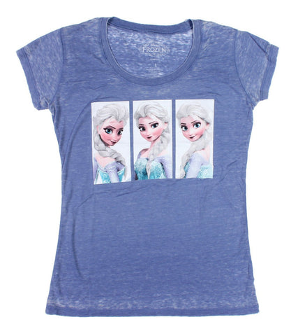 Disney Frozen Elsa Scene Boxes Juniors Heather Blue T-Shirt | L