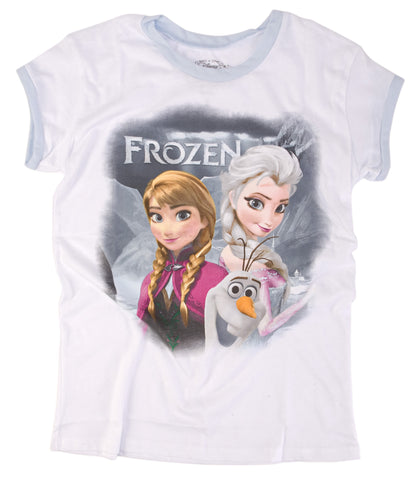 Disney Frozen Trio Frost Fade Juniors White T-Shirt | S
