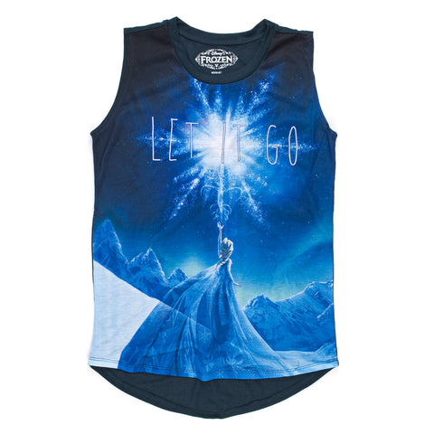 Disney Frozen Elsa Let It Go Night Scene Juniors Sleeveless T-Shirt | L