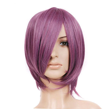 Purple Rose Dark Pink Short Length Anime Cosplay Costume Wig