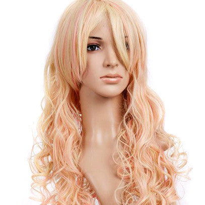 Blonde w/ Pink Hightlights Curly Long Length Anime Cosplay Costume Wig