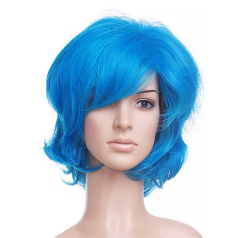 Blue Short Length Anime Cosplay Costume Wig