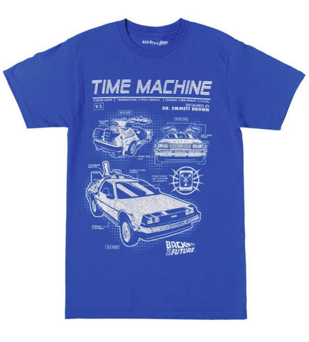 Back To The Future Time Machine Blueprints Mens Blue T-Shirt | XXL