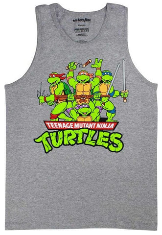 Teenage Mutant Ninja Turtles Ninja Ninja Attack Grey Tank Top Shirt | XL
