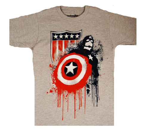 Marvel Captain America Iconic Drips Mens Grey T-Shirt | XXL