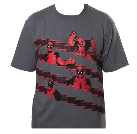 Marvel Deadpool Stripes Mens Grey T-Shirt | XXL