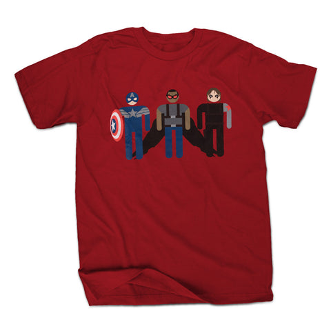 Marvel Minimalist Cap and Friends Mens Red T-Shirt | XXL