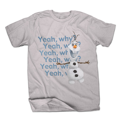 Disney Frozen Olaf Yeah Why Mens Grey T-Shirt | XXL