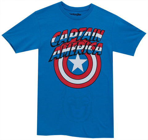 Marvel Captain America Shield Logo Mens Blue Flip T-Shirt | XXL