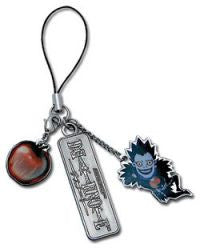 Death Note: Chibi Ryuk, Apple, and Death Note Logo Charm Cell Phone Strap.