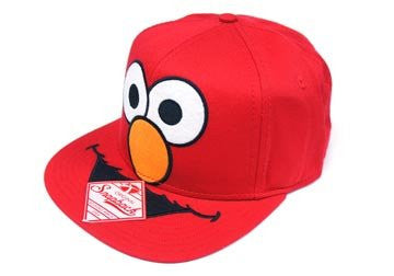 Sesame Street Elmo Big Face Mens Red Snapback Snap Back Adjustable Hat Cap