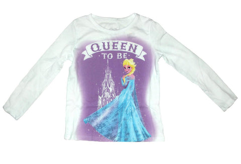Disney Frozen Elsa Queen To Be Girls White Long Sleeve T-Shirt | 6X