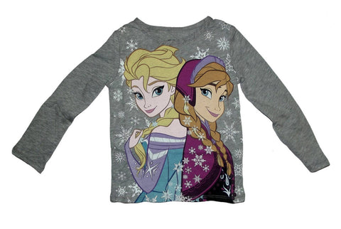 Disney Frozen Elsa and Anna Snowfall Girls Grey Long Sleeve T-Shirt | 3T
