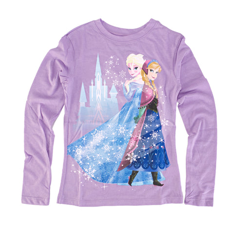 Disney Frozen Anna and Elsa Castle Juniors Purple T-Shirt | S