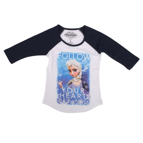 Disney Frozen Follow Your Heart Juniors 3/4 Sleeve T-Shirt | L