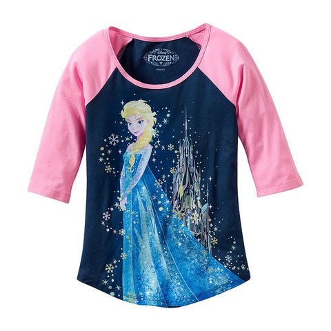Disney Frozen Elsa Sparkle Castle Juniors 3/4 Sleeve T-Shirt | XL