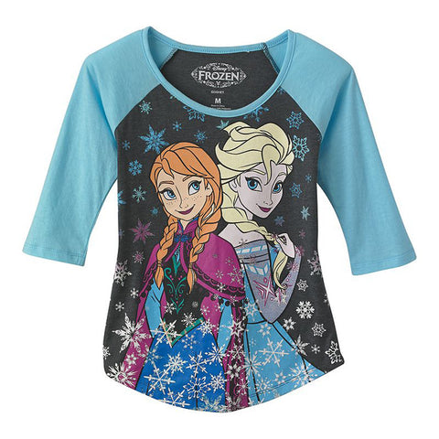 Disney Frozen Elsa and Anna Snowfall Juniors 3/4 Sleeve T-Shirt | L