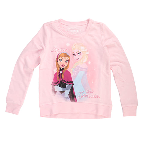 Disney Frozen Sisters Are Forever Girls Lightweight Pullover Sweatshirt | L