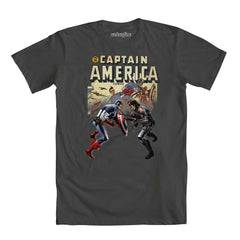 Captain America Cap and Sidekick Comic Book Cover Mens Gray T-Shirt | M