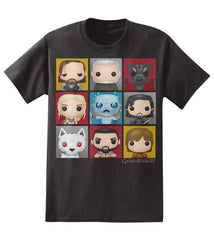 Game Of Thrones Funko Figure Collage Mens Black T-Shirt | S
