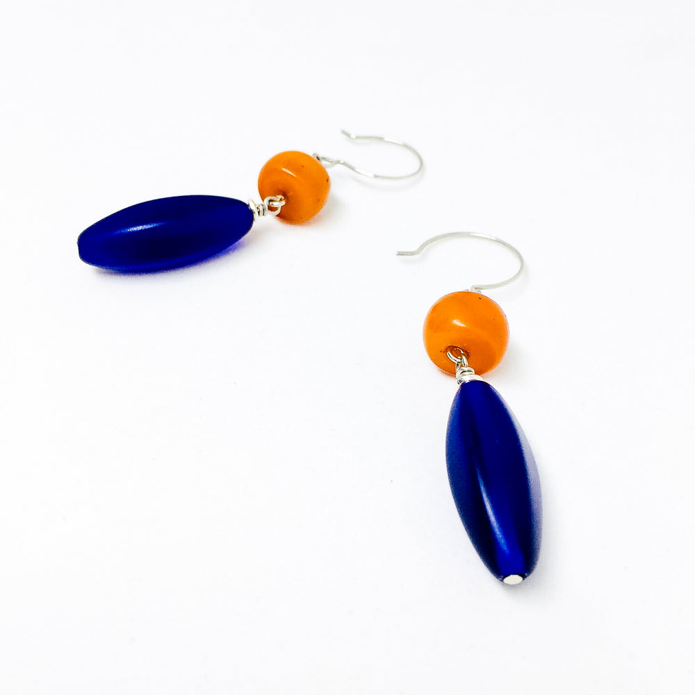 Contrasting orange resin and cobalt Czech glass drop earrings