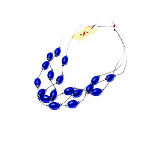 Frosted Czech glass bead multi-strand necklace in colbalt blue