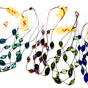 Faceted Czech glass bead multi-strand necklace in six colors