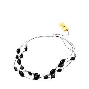 Faceted Czech glass bead multi-strand necklace black