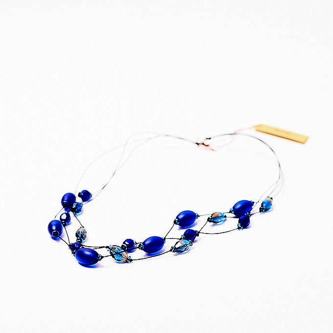 Faceted Czech glass bead multi-strand necklace blue