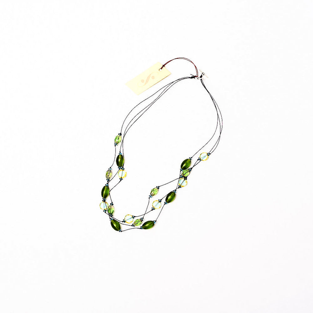 Faceted Czech glass bead multi-strand necklace green