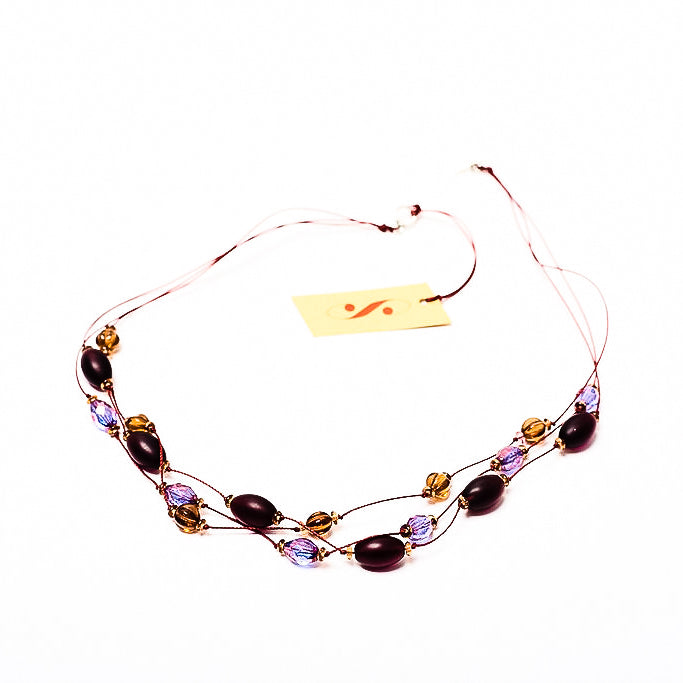 Faceted Czech glass bead multi-strand necklace purple