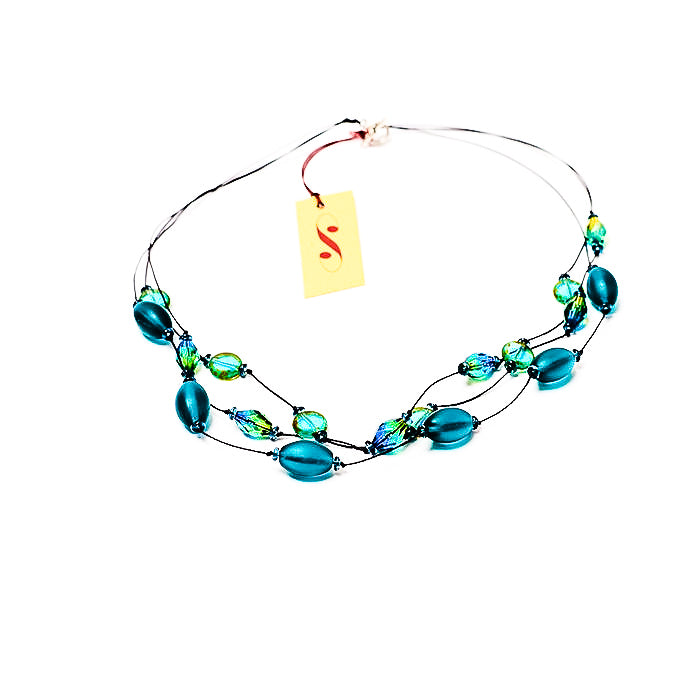 Faceted Czech glass bead multi-strand necklace teal