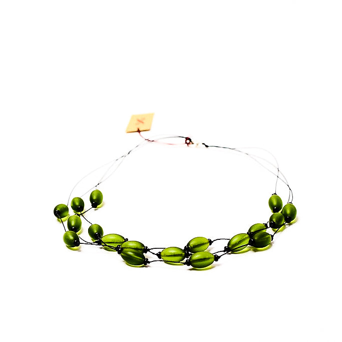 Frosted Czech glass bead multi-strand necklace in olivine green