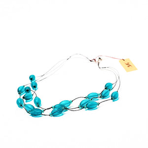 Frosted Czech glass bead multi-strand necklace in teal