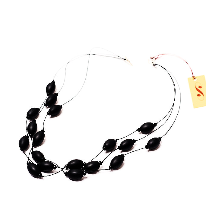Frosted Czech glass bead multi-strand necklace in black