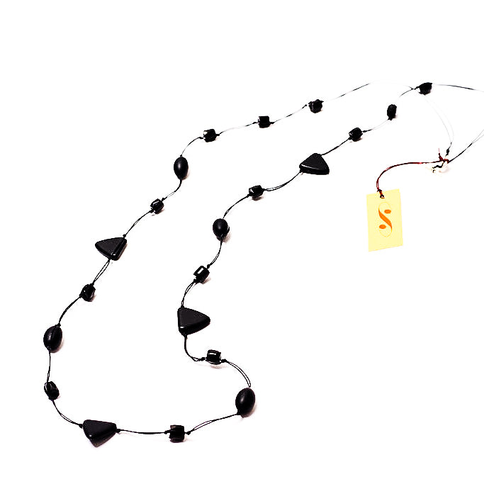 Frosted black long triangle necklace