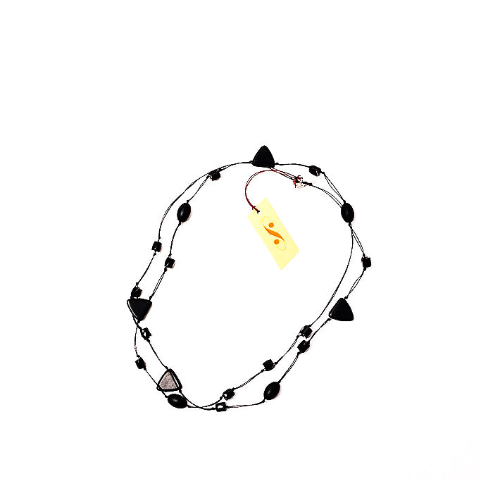 Frosted black long triangle necklace, doubled
