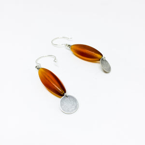 Frosted Czech glass bead drop earrings in amber frost