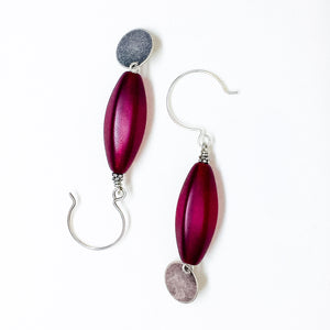 Frosted Czech glass bead drop earrings in red frost