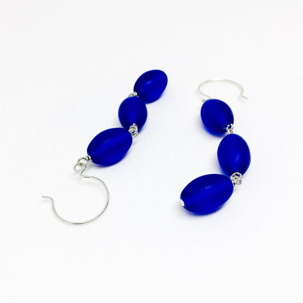 Frosted Czech glass bead drop earrings in cobalt frost