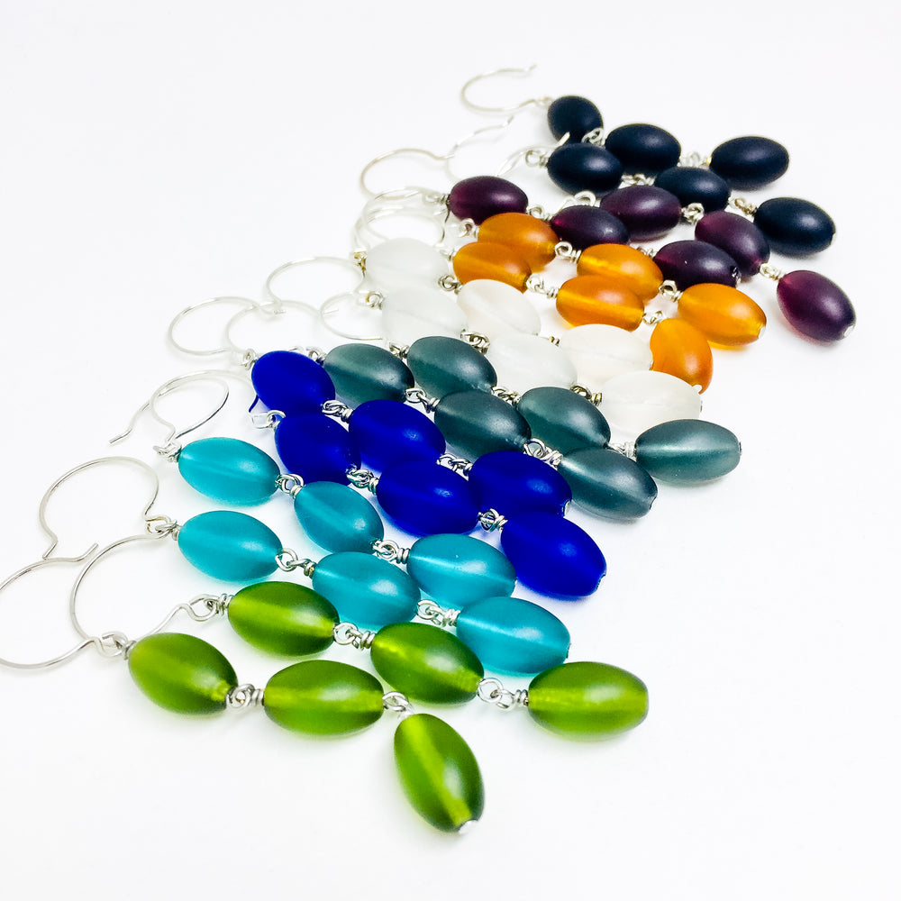 Frosted Czech glass bead drop earrings in all colors