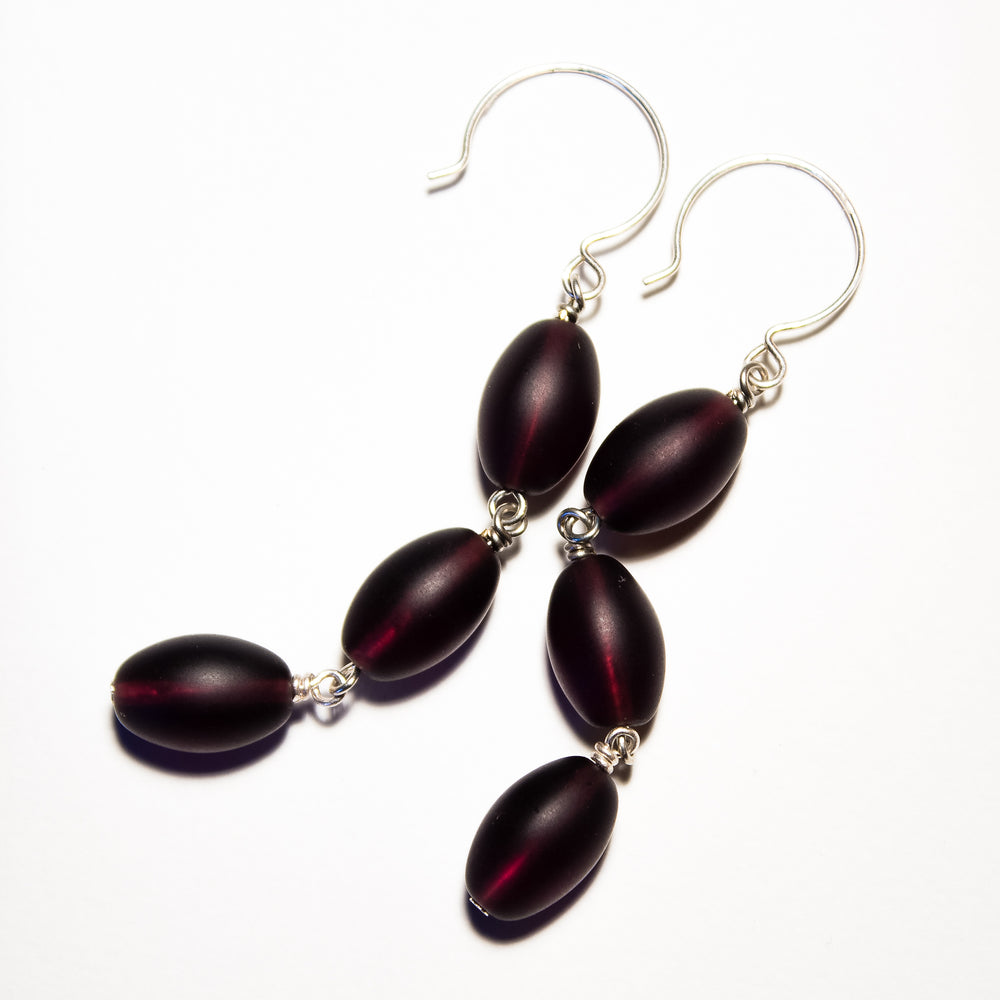 Frosted Czech glass bead drop earrings in plum frost