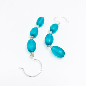 Frosted Czech glass bead drop earrings in teal frost