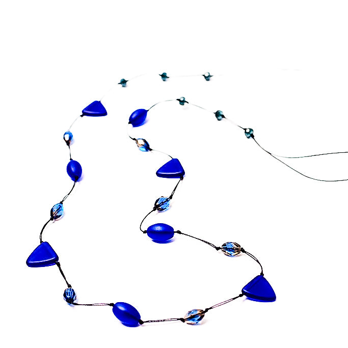 Frosted Czech glass long triangle cobalt blue necklace