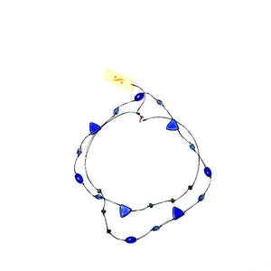 Frosted Czech glass long triangle cobalt blue necklace, doubled