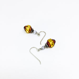 Czech glass earrings cathedral faceted band amber