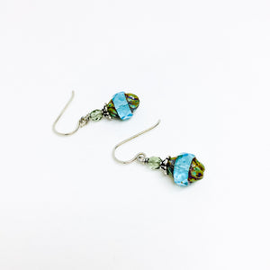 Czech glass earrings cathedral faceted band aqua