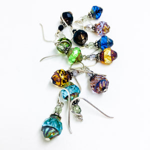 Czech glass earrings cathedral faceted band all colors