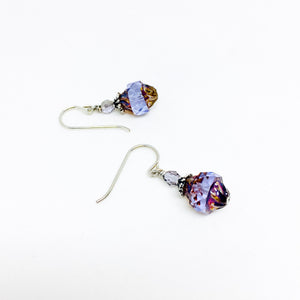 Czech glass earrings cathedral faceted band lilac